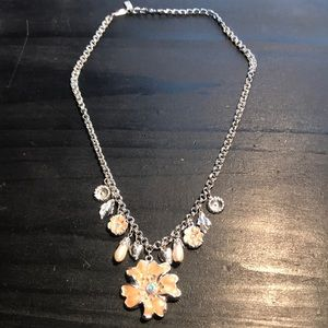 1928 brand silvertone/peach enamel necklace